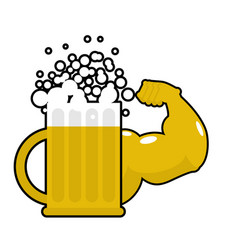 Strong beer mug with big muscles powerful alcohol vector
