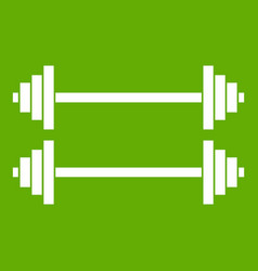 two barbells icon green vector image