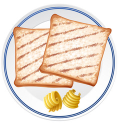 Two toasted and butter on white plate vector