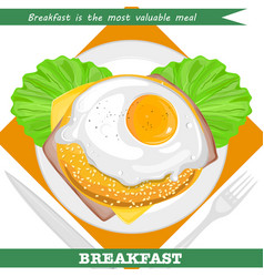 Valuable breakfast with sandwich and omelette vector