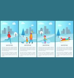 Wintertime fun set of posters vector