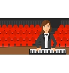 Woman playing piano vector image vector image