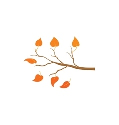 Yellow leaves on a branch icon cartoon style vector