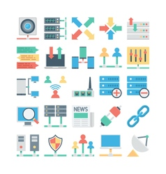 Network and communication colored icons 3 vector