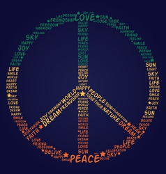Peace symbol made of words vector