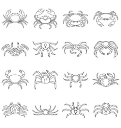 Various crab icons set outline style vector