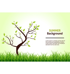 Summer landscape tree on a background of green vector