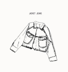hand-drawn object sketch denim jacket jean vector image