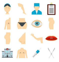 Plastic surgeon icons set in flat style vector