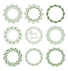 set of round floral frames vector image