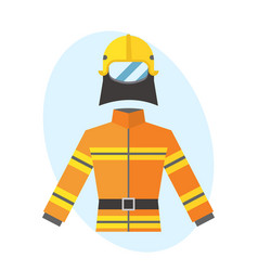 Firefighter yellow fire-proof uniform equipment vector