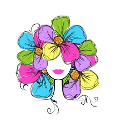 Woman head with floral hairstyle for your design vector