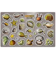 Set of underwater life cartoon stickers vector