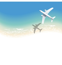 sea background with airplane vector image