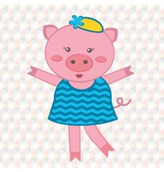 Cute fashionable pig vector image