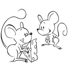 two mouses vector image