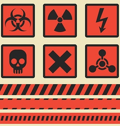 Warning signs symbols set seamless tape vector