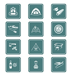 Camping set - teal series vector