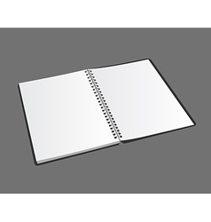 Opened blank spiral notebook on gray background vector