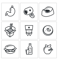 Food poisoning icons set vector