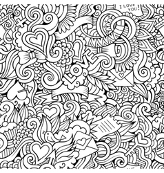 Doodles love sketchy seamless pattern vector