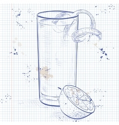 Gin fizz cocktail on a notebook page vector