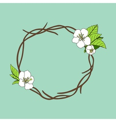 Hand drawn wreath with cherry blossom vector