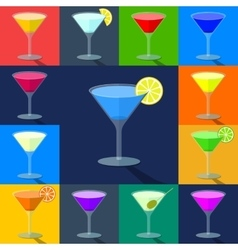 Set of flat colored cocktails in transparent vector