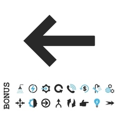 Left arrow flat icon with bonus vector