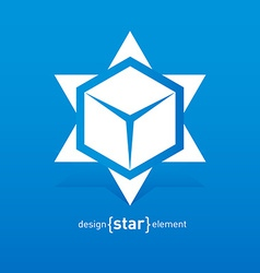 Abstract star with box inside design element vector