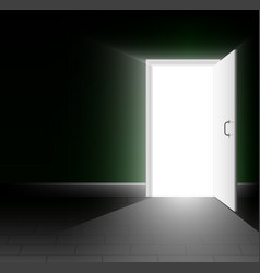 An open door in a dark room a ray of light shines vector