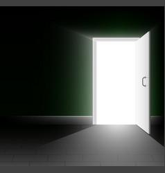 An open door in a dark room a ray of light shines vector