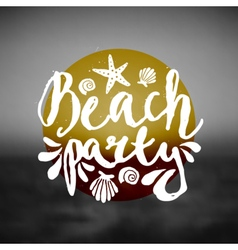 Beach party ocean sunset hand drawn text flyer vector