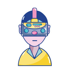 Boy with 3d eyeglasses virtual experience game vector