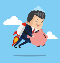 Businessman flying jetpack with piggy vector