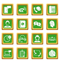 Call center symbols icons set green vector