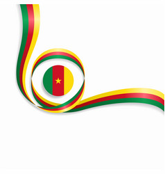 Cameroon wavy flag background vector