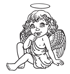 Cartoon little angel outline vector