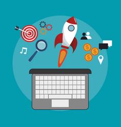 Digital marketing online start wedsite vector
