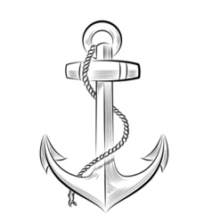 drawing one-color anchor vector image vector image