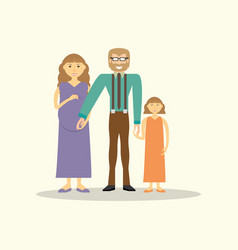 Family couple pregnancy and daughter vector