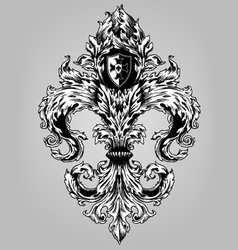 Fancy Hand Drawn Fluer De Lys vector image vector image
