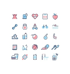 Fitness and sport line icons set vector image vector image