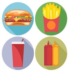 Food and drink set flat style burger coke chips ke vector