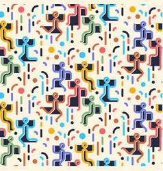 Geometric abstract seamless pattern people vector