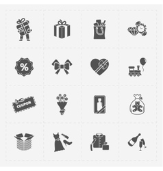 Gift flat black shop icon set on white vector image