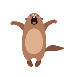 groundhog who yawns and stretches flat vector image