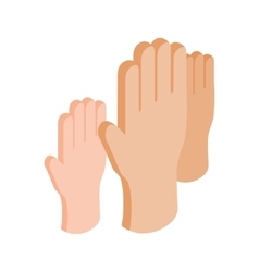 Hands raised up isometric 3d icon vector