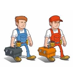 Handyman carying toolkit vector