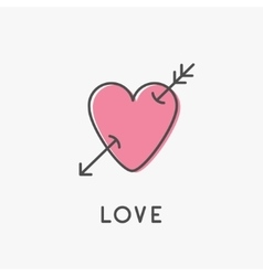 Heart arrow sign symbol Thin line icon Pink vector image vector image